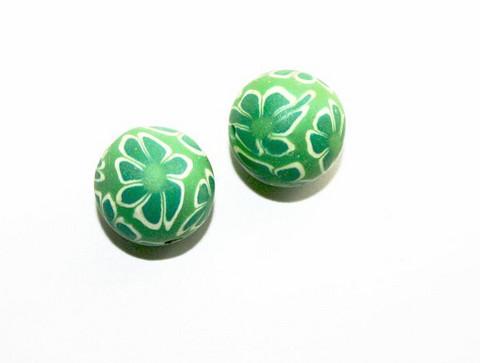Massahelmet pyöreä vihreä+kukka 12mm 2kpl