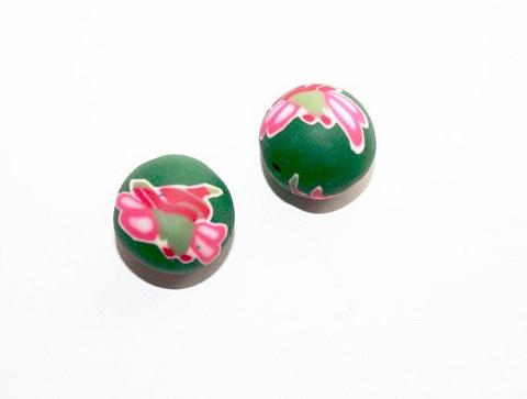 Massahelmet pyöreä vihreä+pinkki kukka 12mm 2kpl