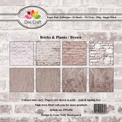 Dixi Craft paperikko Bricks & planks Brown  6x6