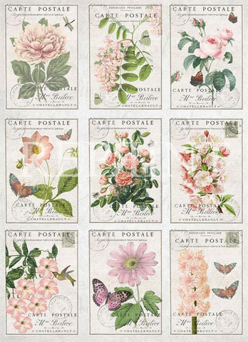 Reprint korttikuvat Love & Romance Flowers a4