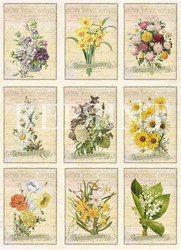 Reprint korttikuvat Easter Vintage Flowers a4