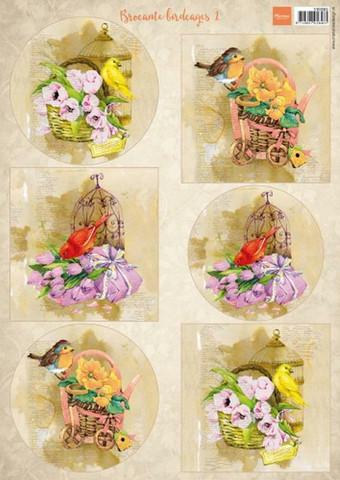 Marianne Design korttikuvat linnut Brocante birdcages 1