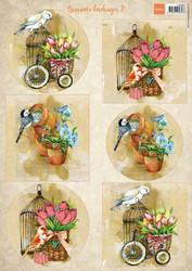 Marianne Design korttikuvat linnut Brocante birdcages 2