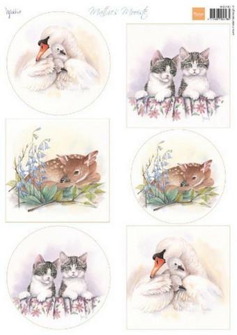 Marianne Design Mattie korttikuvat baby animals a4