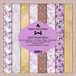 HG paperikko Gold Purple Roses 6x6