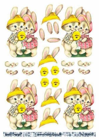 3d-kuvat pääsiäispuput ja keltainen orvokki Barto Design a4