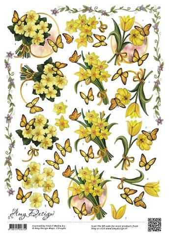 3d-kuvat keltaiset kevätkukat ja perhoset Amy Design