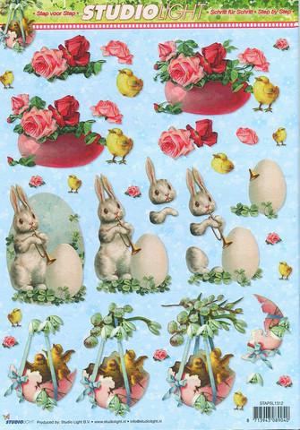 3d-kuvat pääsiäispupu, tiput ja kukat Studiolight