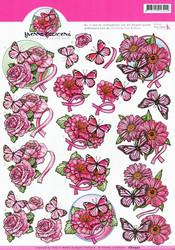 3d-kuvat pinkit kukat ja perhoset Yvonne Creations a4
