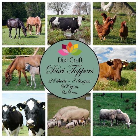 Dixi Craft korttikuvat maatilaneläimiä