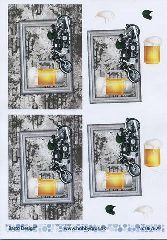 Barto Design 3D-korttikuvat moottoripyörä ja olut