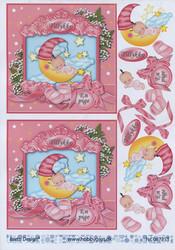 Barto Design 3D-korttikuvat tyttövauva ja kuu