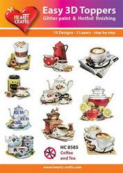 Hearty Crafts stanssatut 3d-kuvat Kahvia ja Teetä 10kpl