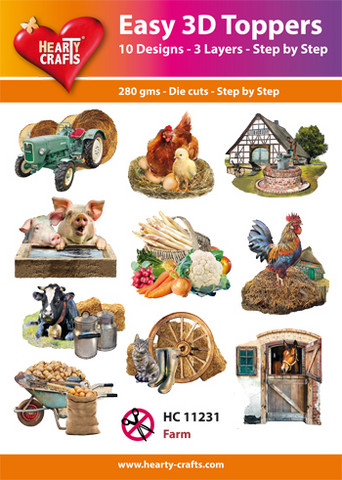Hearty Crafts stanssatut 3d-kuvat Maatila 10kpl