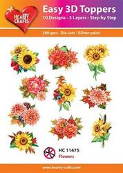 Hearty Crafts stanssatut 3d-kuvat auringonkukkia jne. 10kpl