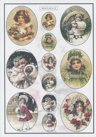 Helmiäishohtoiset korttikuvat vintage tytöt 16