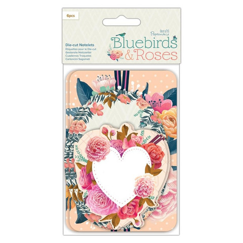Papermania Diecut Notelets Bluebirds & Roses 6kpl