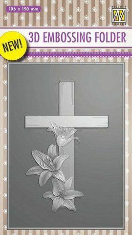 Kohokuviointitasku Cross with lilies Nellie´s Choice EF3D010 106x150mm