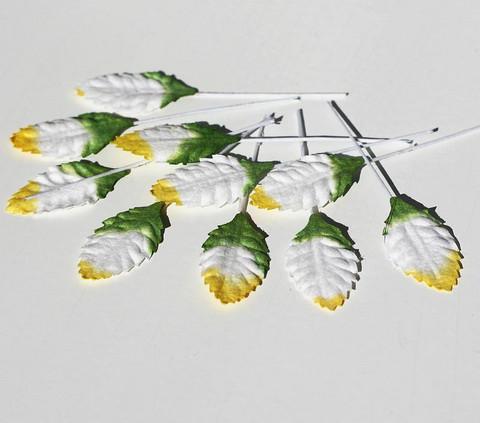 Paperilehdet varrella vihrea-kelta-valkoinen 10kpl