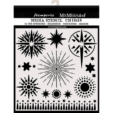 Stamperia sabluuna erilaisia tähtiä 18x18cm