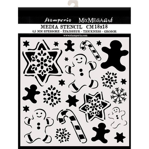 Stamperia sabluuna piparkakkuja, tähtiä 18x18cm
