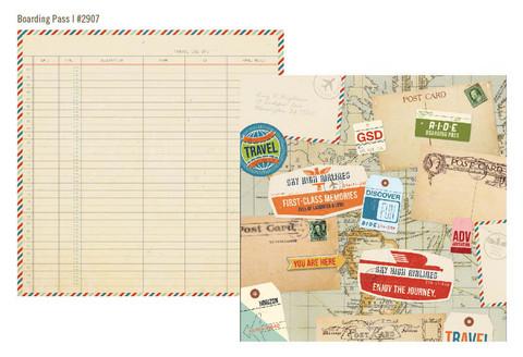 Simple Stories paperi Urban Traveler Boarding Pass 12x12
