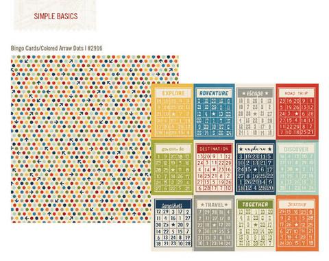 Simple Stories paperi Urban Traveler Bingo Cards/Travel Dots 12x12