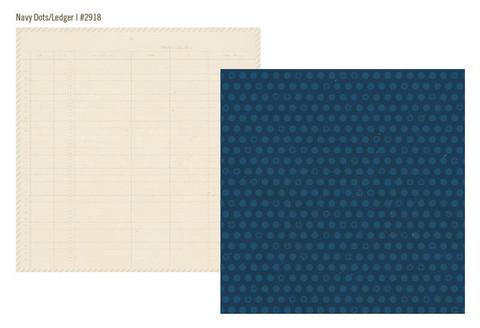 Simple Stories paperi Urban Traveler Navy Dots / Ledger 12x12