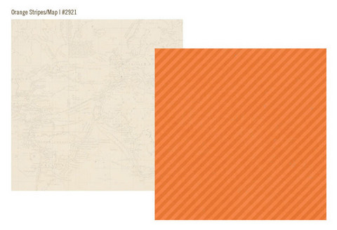 Simple Stories paperi Urban Traveler Orange Stripes / Maps 12x12