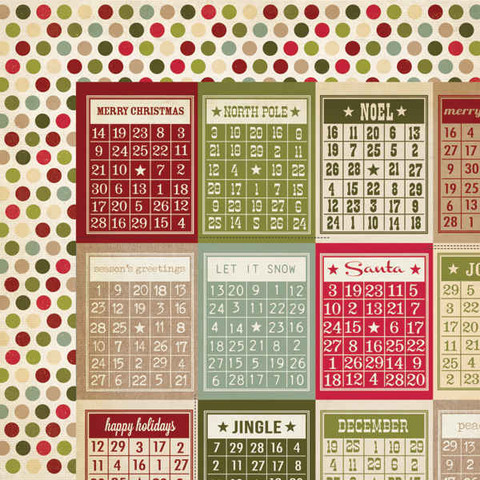 Simple Stories paperi Handmade Holiday Bingo Cards/Dots 12x12