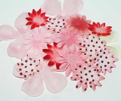 Kangaskukat vaaleanpunainen/punainenlajitelma 17kpl
