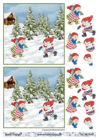 BD 3d-kuva tonttulasten lumisota 067949