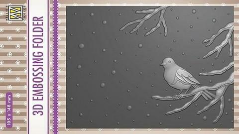 NS Kohokuviointitasku Bird on branch 105x148mm