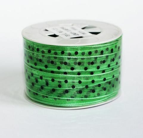 Organzanauha raikkaan vihreä mustilla pilkuilla 15mm/20m