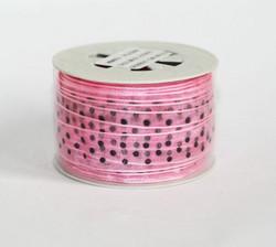 Organzanauha vaaleanpunainen mustilla pilkuilla 15mm/20m