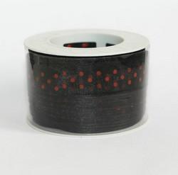 Organzanauha musta punaisilla pilkuilla 15mm/20m
