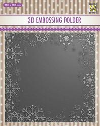 NS Kohokuviointitasku lumihiutalekehys Snowflake frame 15x15cm