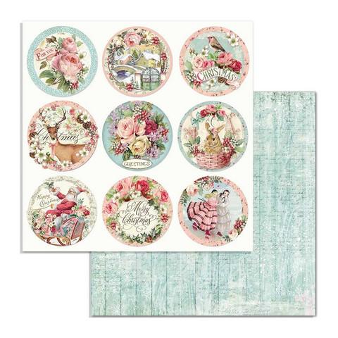 Stamperia korttikuvat Pink Christmas Rounds 12x12