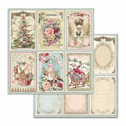 Stamperia korttikuvat Pink Christmas Cards 12x12