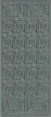 Ääriviivatarra koristekulmat hopea 1226