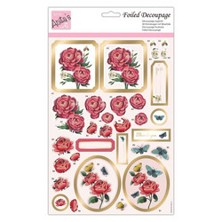 Stanssatut 3d-kuvat Anitas foiled decoupage rose blooms a4