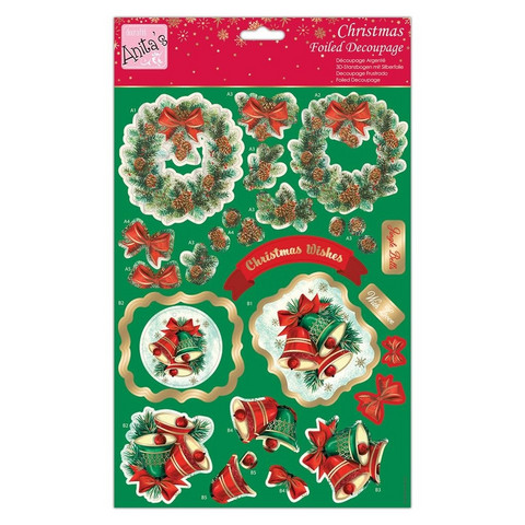 Stanssatut 3d-kuvat Anitas foiled decoupage pine wreath a4