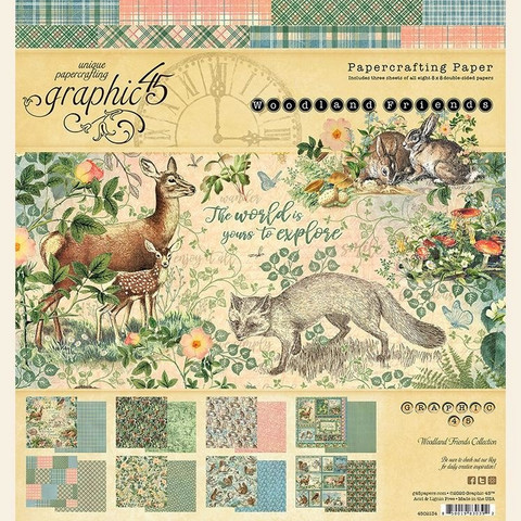 Graphic 45 paperilehtiö Woodland Friends 8x8