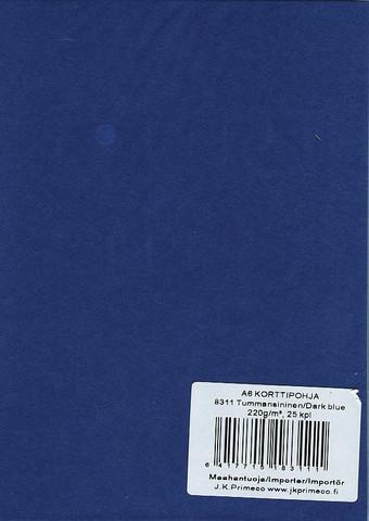 Korttipohjat a6 tummansininen 25kpl JK Primeco