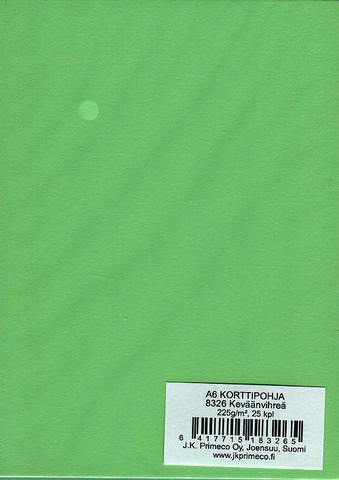 Korttipohjat a6 keväänvihreä 25kpl JK Primeco