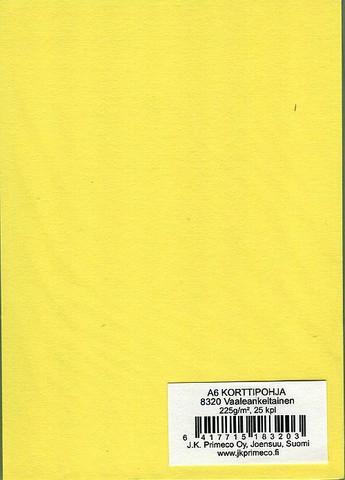 Korttipohjat a6 vaaleankeltainen 25kpl JK Primeco