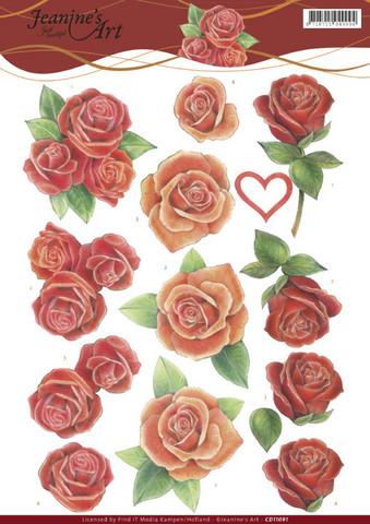 3d-kuvat upeat punaiset ruusut Jeanine´s Art a4
