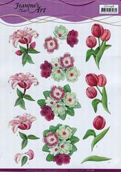3d-kuvat pinkki/valkoisia kukkia Jeanine´s Art a4