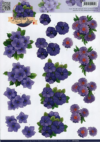 3d-kuvat violetteja kukkia Jeanine´s Art a4