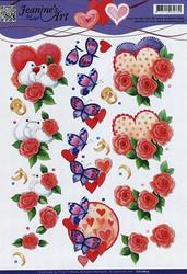 3d-kuvat sydämet, kukat ja kyyhkyset Jeanine´s Art a4